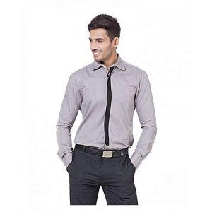 Asset Grey Cotton Striped Shirt For Men - MD-298 mw3