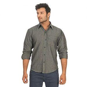Asset Grey Denim Shirt with Self Fine Stripes for Men Regular Fit mw276