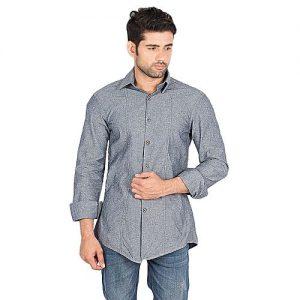 Asset Grey Denim Shirt with Wooden Button for Men mw284