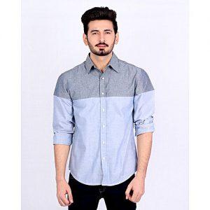 Asset Grey & Sky Blue Cotton Casual Shirt mw264