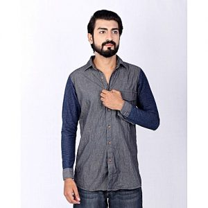 Asset Grey Thin Denim Striped Shirt With Knit Sleeves For Men mw74