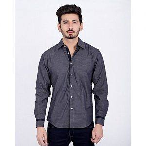 Asset Grey With Navy Blue Contrast Shirt For Men mw141