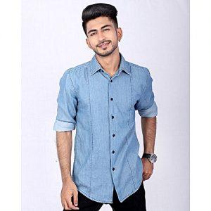 Asset Hugo Blue Slim-fit Denim Shirt with Black Buttons for Men Name mw1