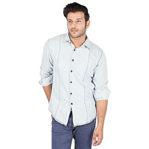 Asset Ice Blue Cotton Denim Shirt With Front Pleats For Men mw249