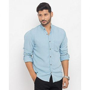 Asset Ice Blue Cotton Shirt With Metal Button mw49