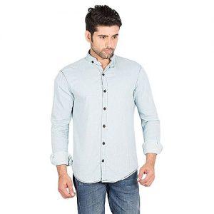 Asset Ice Blue Denim Mao Collar Shirt with Broken Twill for Men mw162