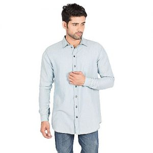 Asset Ice Blue Denim Self Striped Shirt with Grey Buttons for Men mw168