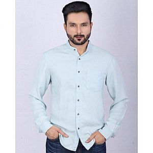 Asset Ice Blue Tencel Denim Silky Shirt With Single Chest Pocket For Men mw71
