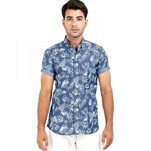 Asset Indigo Denim Printed Shirt For Men mw290
