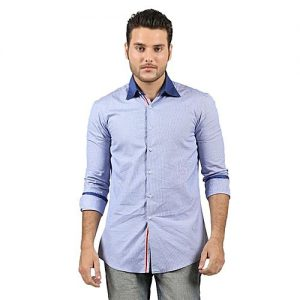 Asset Light Blue Cotton Checkered Shirt for Men mw140