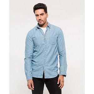 Asset Light Blue Ctton Denim Shirt with Front Pockets for Men mw3