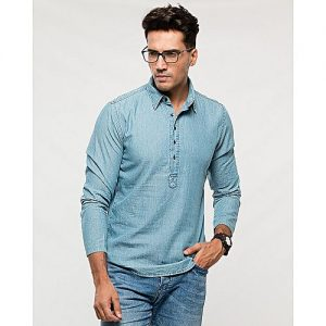 Asset Light Blue Denim Eastern Shirt with Half Placket for Men mw222