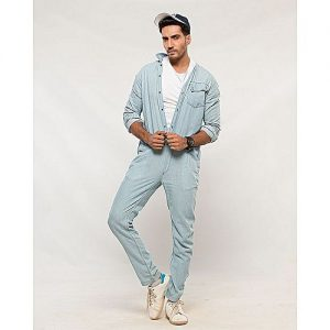 Asset Light Blue Denim Jumpsuit with Front Pocket & Adjustable Waist for Men mw35