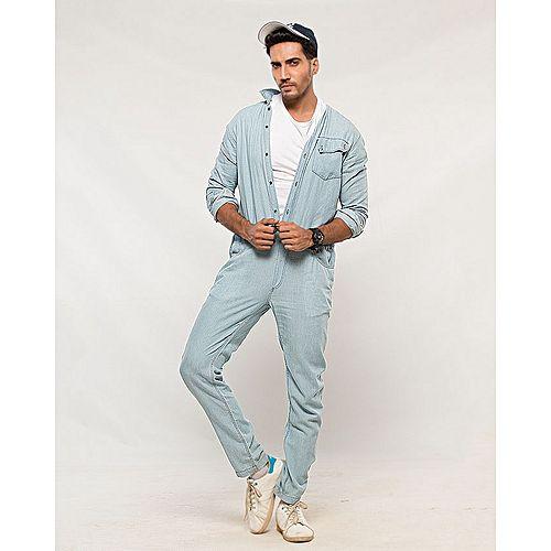 Asset Light Blue Denim Jumpsuit with Front Pocket & Adjustable Waist for Men mw35