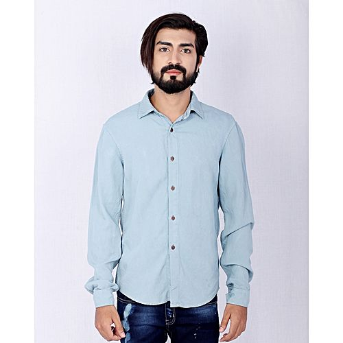 Asset Light Blue Denim Shirt with Copper Buttons for Men Name mw113