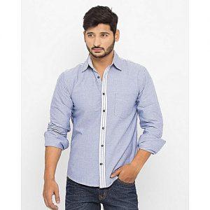 Asset Light Blue & Grey Cotton Stripe Contrast Shirt For Men mw262