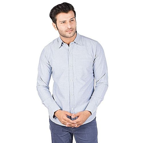 Asset Light Blue Oxford Cotton Shirt for Men Regular Fit mw170