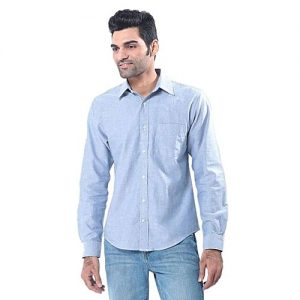 Asset Light Blue Oxford Cotton Shirt with White Buttons for Men mw44