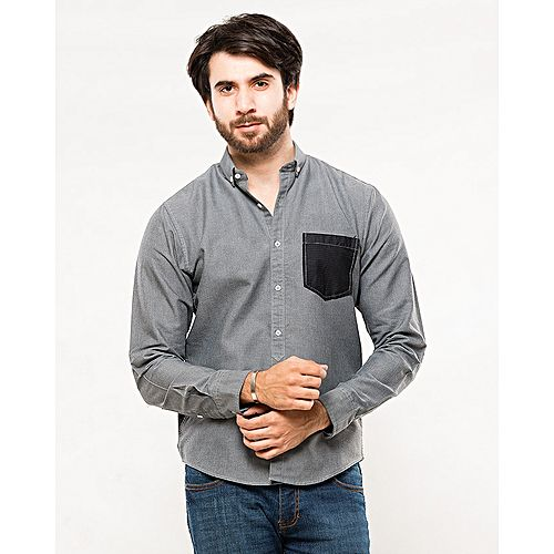 Asset Light Grey Oxford Cotton Shirt with Black Pocket for Men mw145