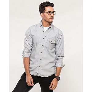 Asset Light Grey Tencel Denim Shirt with Metal Buttons & Front Pocket for Men mw283