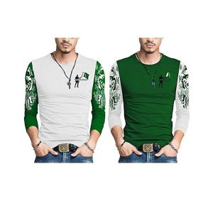 Aybeez Pack Of 2 Pakistan Printed T Shirt With Front Logo For Men mw1
