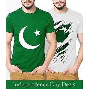 Daraz Fashion Mens Pack Of 2 Printed Cotton T-Shirts For Pakistan Independence Day. 14AUG-10 mw3