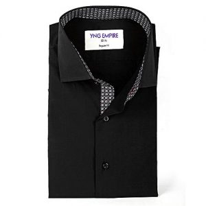 YNG Empire Black With Grey Printed Premium Egyptian Cotton Shirt for Men mw67