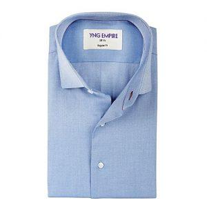 YNG Empire Blue Chambray Premium Egyptian Cotton Shirt for Men mw63