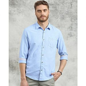 YNG Empire Men Blue Smart Slim Fit Solid Casual mw32