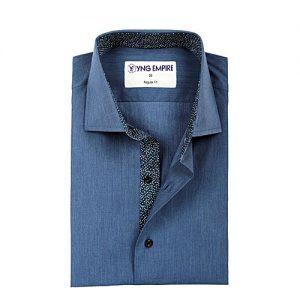 YNG Empire Navy Blue Egyptian Cotton Shirt For Men mw82