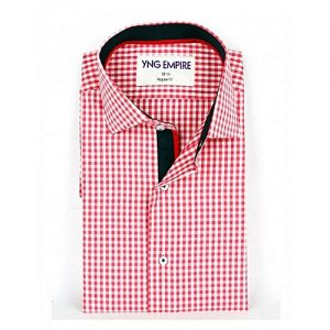 YNG Empire Pink Checkered Egyptian Cotton Formal Shirt for Men mw125
