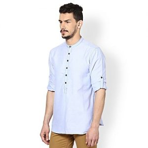 YNG Empire Sky Blue Kurti Style Shirts For Men mw30