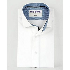 YNG Empire White & Blue Checkered Egyptian Cotton Formal Shirt for Men mw45