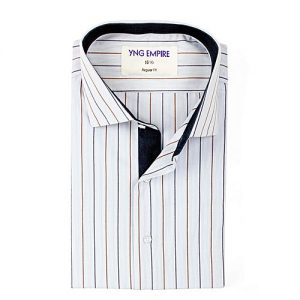 YNG Empire White Striped Premium Egyptian Cotton Shirt for Men mw114