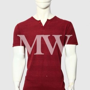 Men's Maroon Cotton T-shirt With Stripes