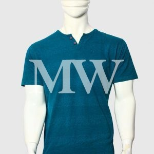 Men's Sea Green Cotton T-shirt With Stripes