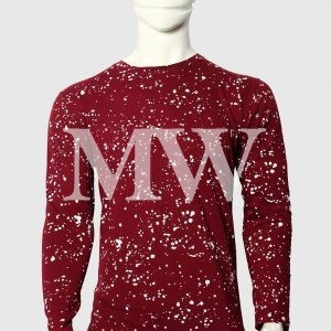 Men's Maroon Cotton T-shirt  Paint Dotted With Full Sleeve