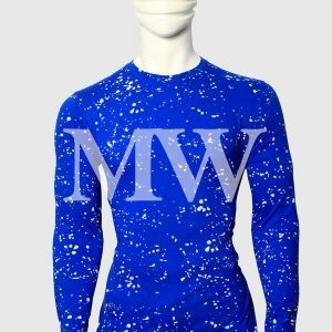 Men's Blue Cotton T-shirt  Paint Dotted With Full Sleeve