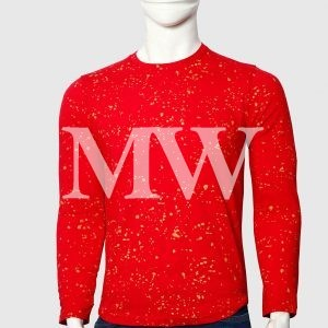 Men's Red Cotton T-shirt  Paint Dotted With Full Sleeve