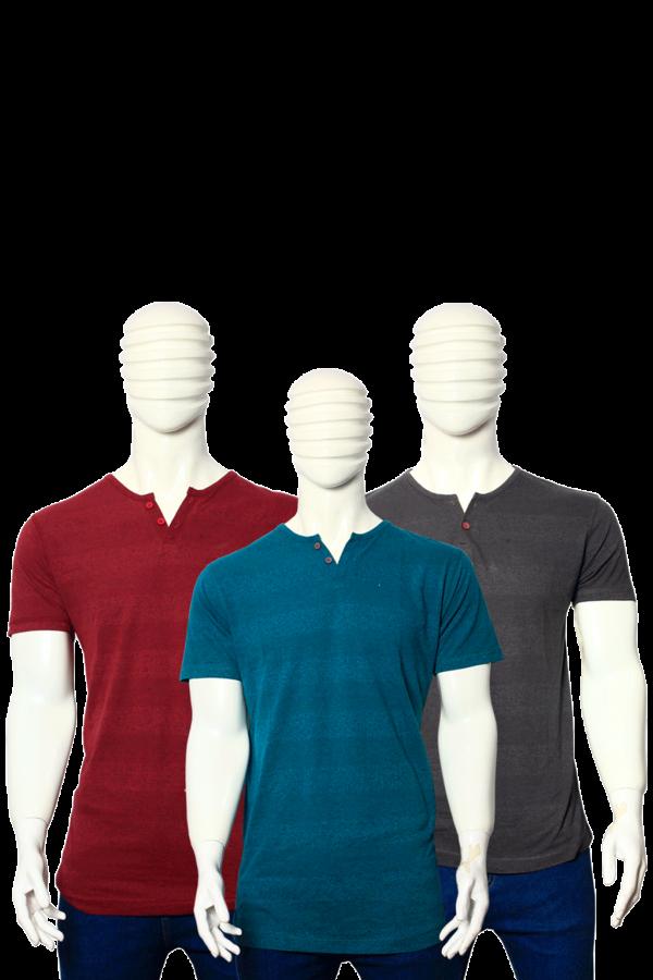 PACK OF 3 MEN'S MULTICOLOR STRIPES COTTON T-SHIRTS