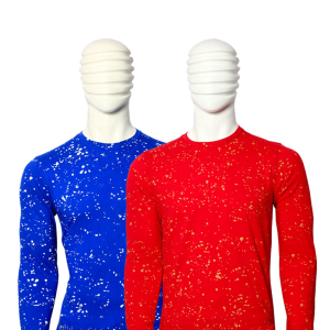 PACK OF 2 MEN'S MULTICOLOR COTTON PAINT DOTTED T-SHIRTS WITH FULL SLEEVE