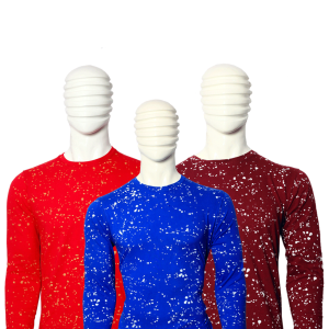 PACK OF 3 MEN'S MULTICOLOR COTTON PAINT DOTTED T-SHIRTS WITH FULL SLEEVES