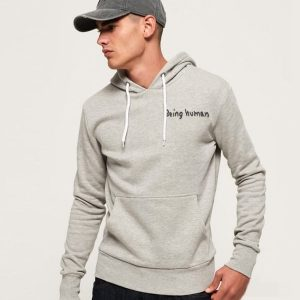 Men's Kangroo Stylish Grey Hoodie Being Human