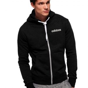 Men's Stylish Black Zipper Hoodie Adidaas