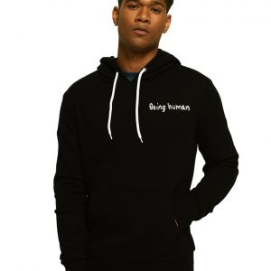 Men's Stylish Black Zipper Hoodie Being Human