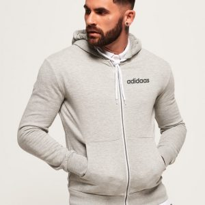 Men's Stylish Grey Zipper Hoodie Adidaas