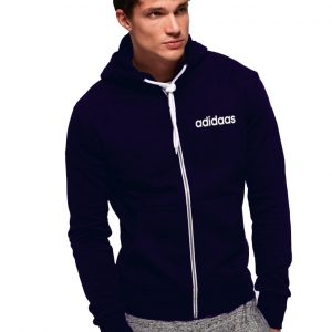 Men's Stylish Navy Blue Zipper Hoodie Adidaas