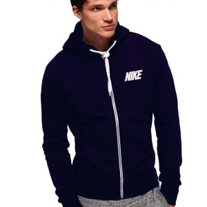 Men's Stylish Navy Blue Zipper Hoodie Nike