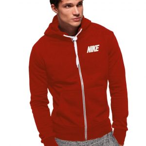 Men's Stylish Red Zipper Hoodie Nike