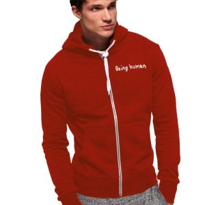 Men's Stylish Red Zipper Hoodie Being Human